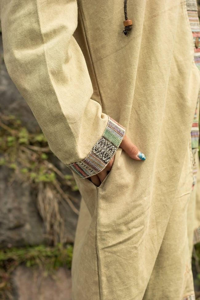 ネパールゲリとストーンウォッシュのロングコート 6 - 裾口の飾り布も素敵ですね。