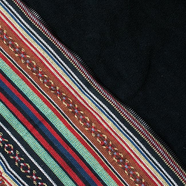 ネパール伝統布のインナーフリースジャケット 13 - C:ブラウン&緑系(インナーフリースは黒)