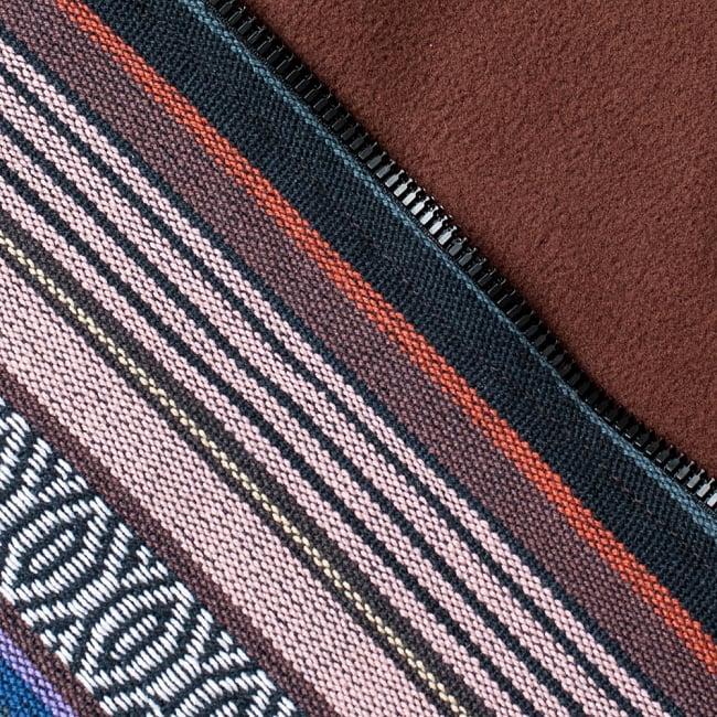 ネパール伝統布のインナーフリースジャケット 14 - D:小豆&ブラウン系(インナーフリースは茶色)