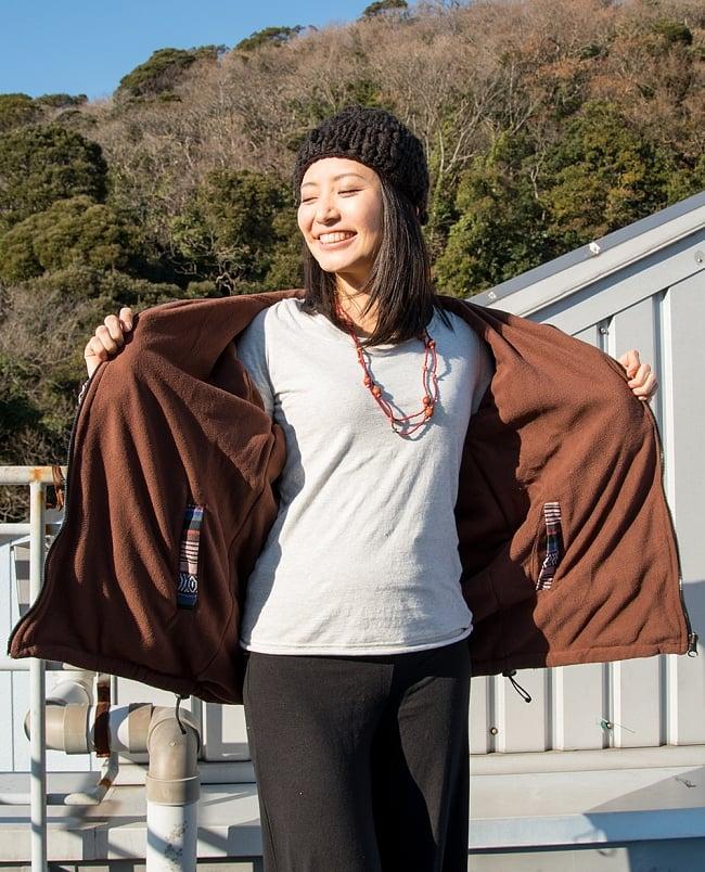ネパール伝統布のインナーフリースジャケット 6 - 内側はフリースでとっても暖かです!