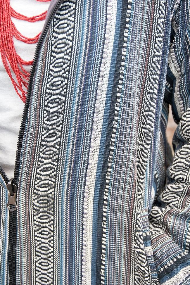 ネパール伝統布のインナーフリースジャケット 9 - ネパール伝統のコットン織り布が用いられていて丈夫な作りです。