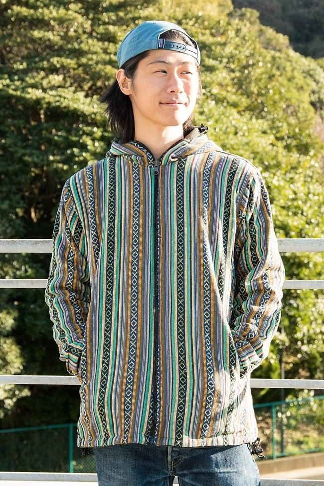 ネパール伝統布のインナーフリースジャケットの写真