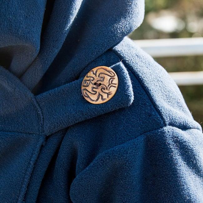 7CHAKRAのフリースジャケット  11 - 胸元のウッドボタンが可愛いです^^