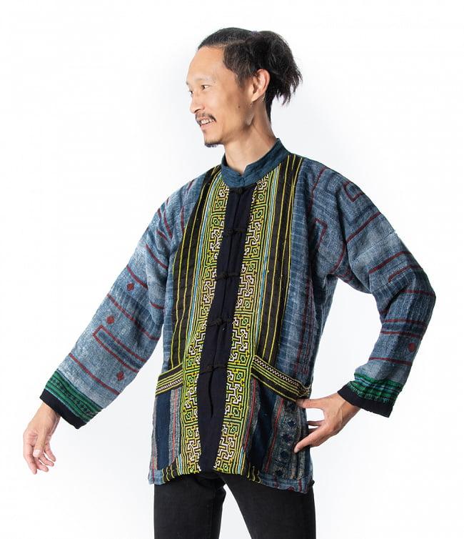 【一点物】黒モン族の藍染刺繍ジャケット 2 - モデルさんの着用例です