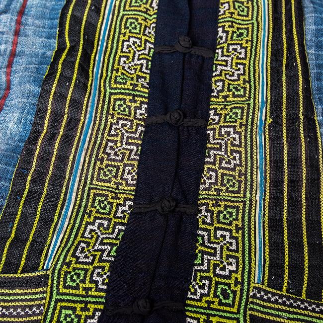 【一点物】黒モン族の藍染刺繍ジャケット 8 - ボタン周りの写真です