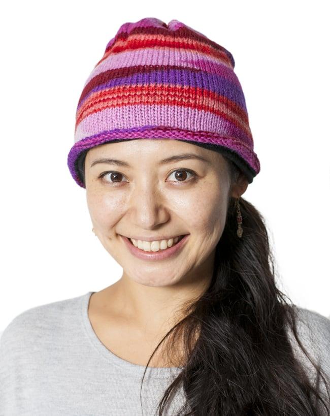 ウールン・ロールハット 【ピンク×紫】 5 - 秋〜冬シーズンのファッションのアクセントにどうぞ。