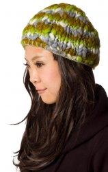 もこもこニット帽-フリース付き 緑ミックス