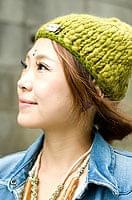 もこもこニット帽-フリース付き 【抹茶】