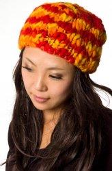 もこもこニット帽-フリース付き 暖色ミックス