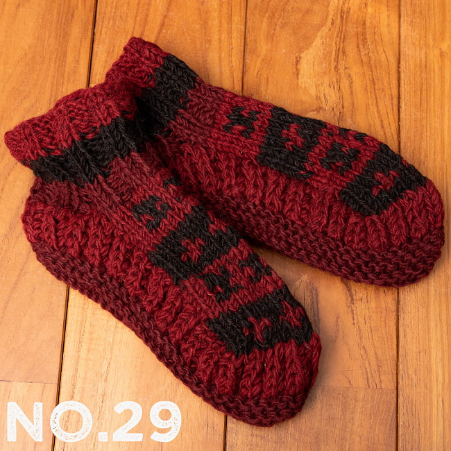 インナーフリースが暖かい!手編みウールン・ルームシューズ ルームソックス 39 - 選択〔No.29〕