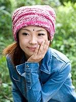 くしゅくしゅニット帽 【ピンク系】