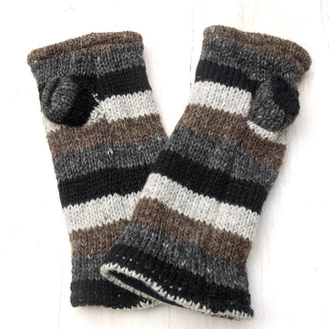 ウールン・アームウォーマー 【ボーダー/親指有り】 3 - 平面に撮りました。親指は別れたデザインとなります。