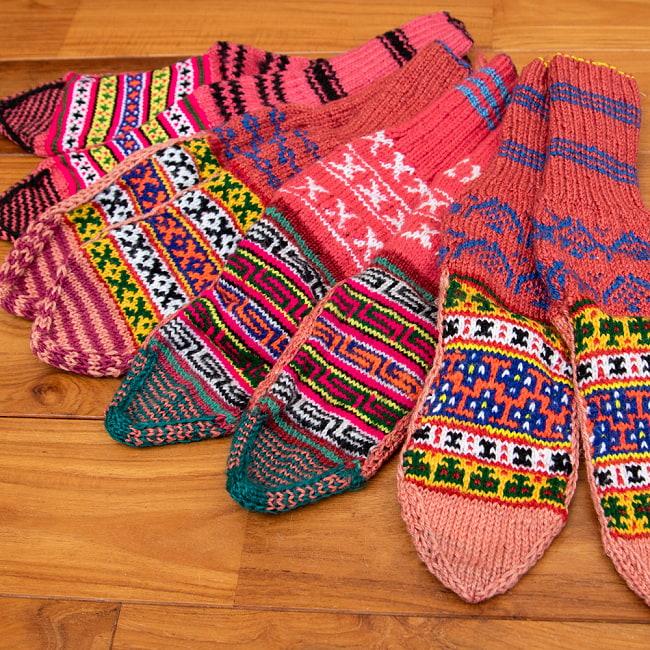 マナリの靴下 - カラフルアクリル 15 - 選択4:パープル