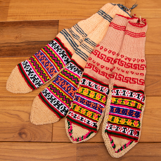 マナリの靴下 - カラフルアクリル 18 - 選択7:レッド