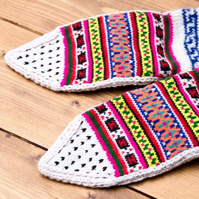 マナリの靴下 - カラフルアクリル 5 - つま先部分をアップにしてみました。