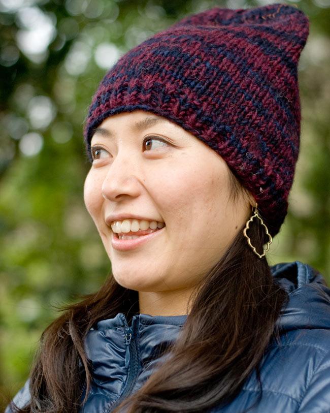 ウールニット帽 【えんじ】の写真