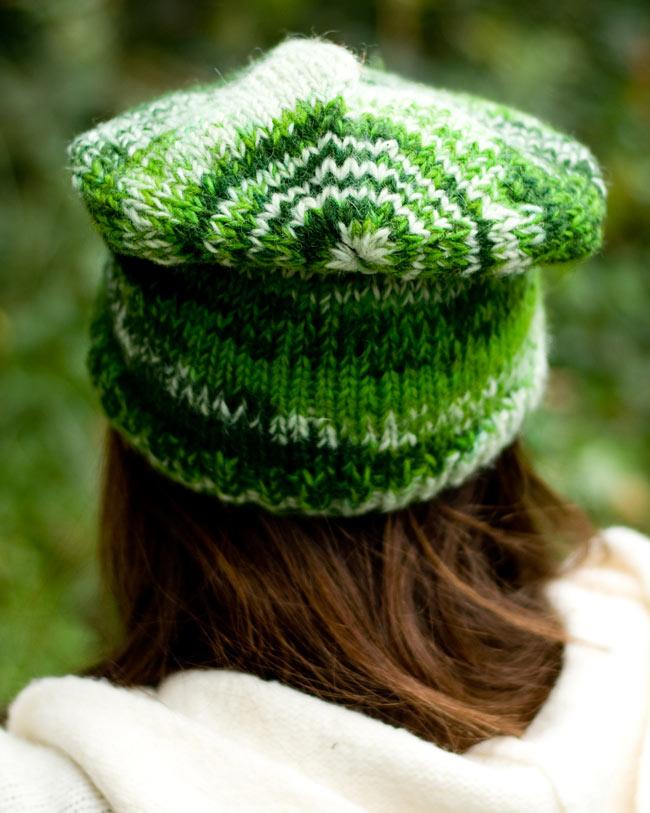 ウールニット帽 【グリーン】 2 - 後ろ姿はこんな感じです。