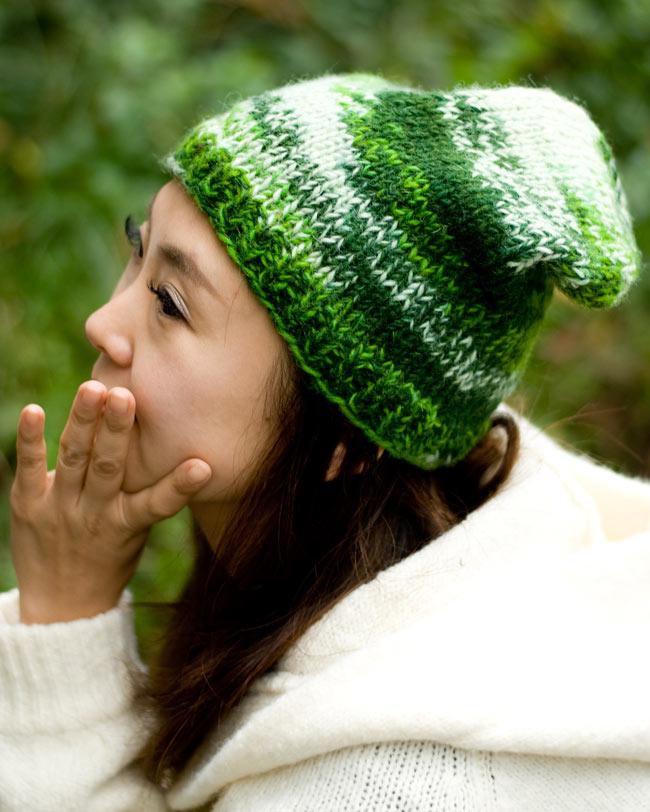 ウールニット帽 【グリーン】の写真