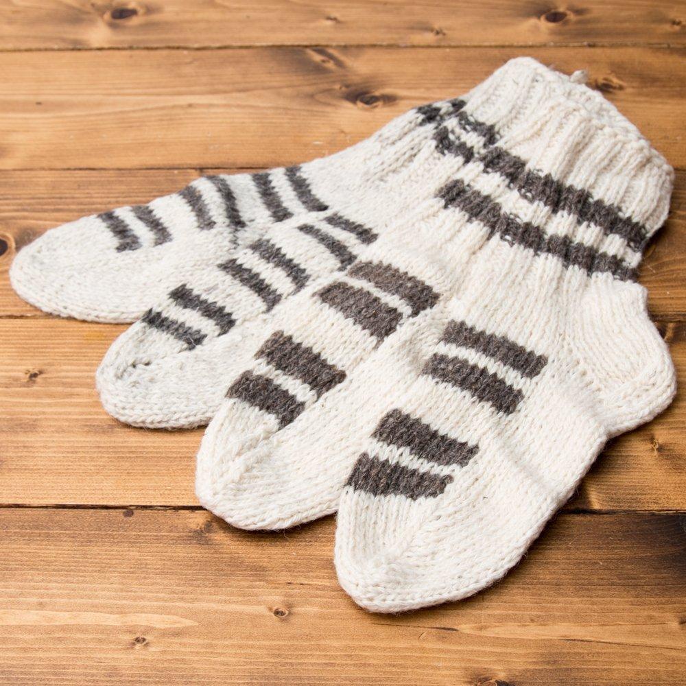 マナリの靴下 - シンプルウール 12 - 選択1:アイボリー+グレー