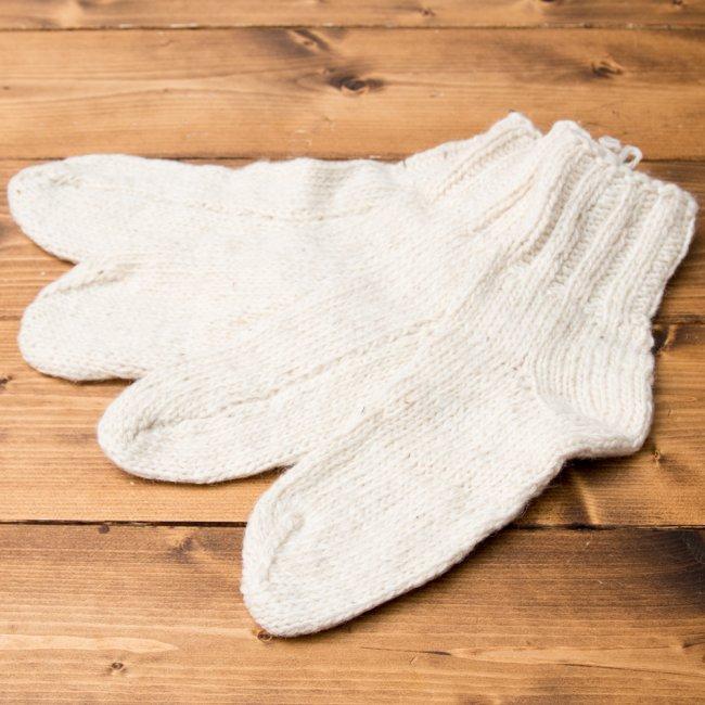マナリの靴下 - シンプルウール 15 - 選択4:アイボリー