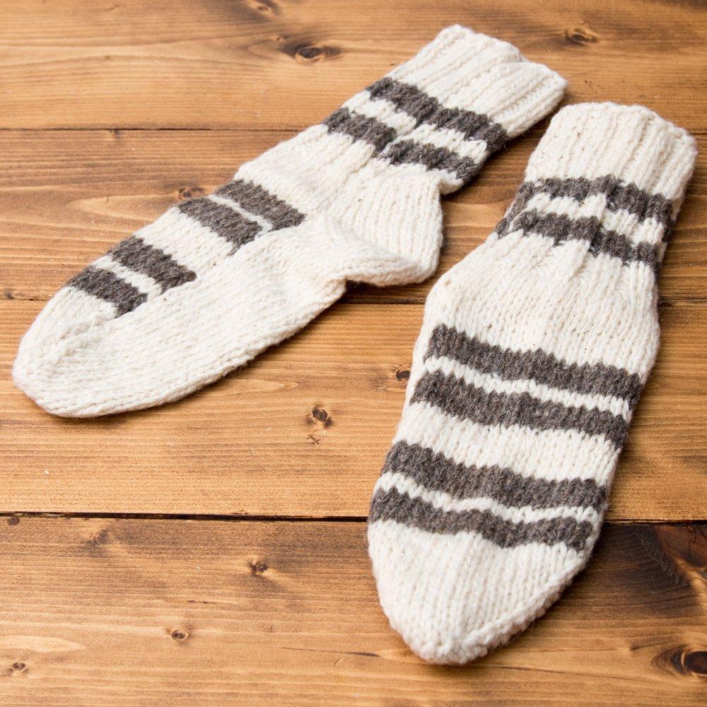 マナリの靴下 - シンプルウール 2 - ひとつづつ手作りのあったか靴下です。