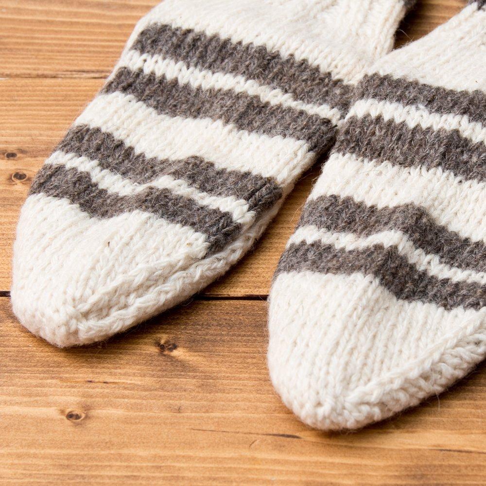 マナリの靴下 - シンプルウール 5 - つま先部分をアップにしてみました。