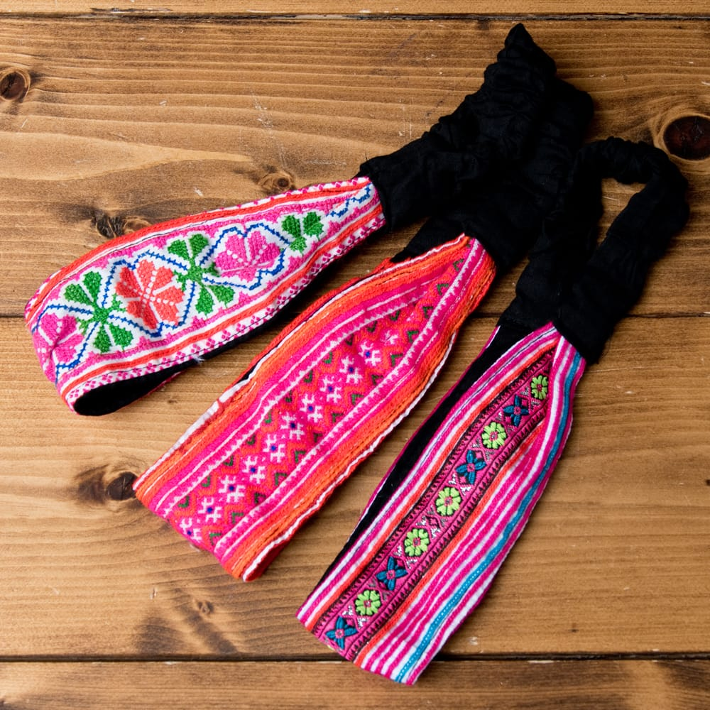 選べるお得3点セット モン族の手作りカラフル刺繍ヘアバンド【アソート】 10 - 選択No.2 ピンク系