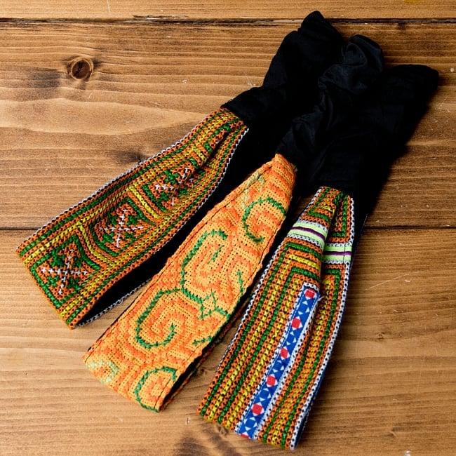 選べるお得3点セット モン族の手作りカラフル刺繍ヘアバンド【アソート】 11 - 選択No.3 イエロー・オレンジ系