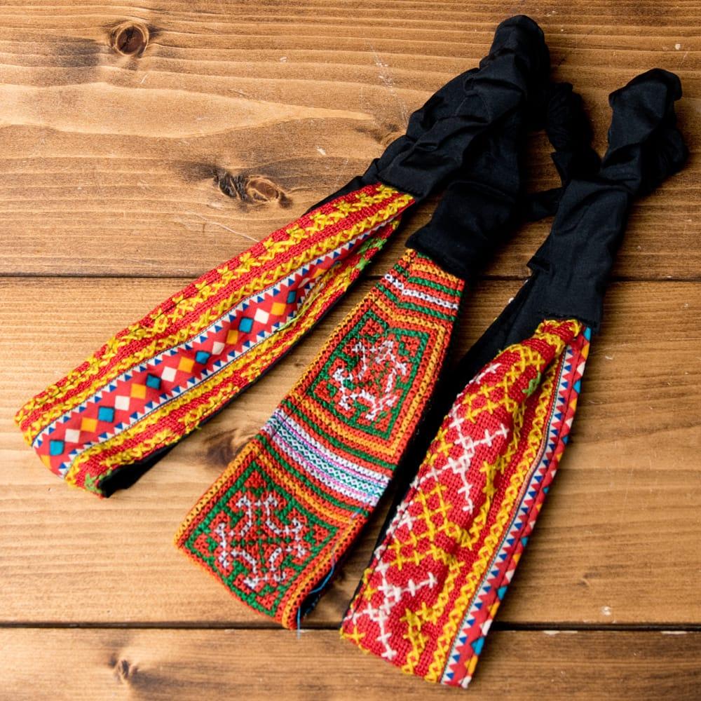 選べるお得3点セット モン族の手作りカラフル刺繍ヘアバンド【アソート】 12 - 選択No.4 濃オレンジ系