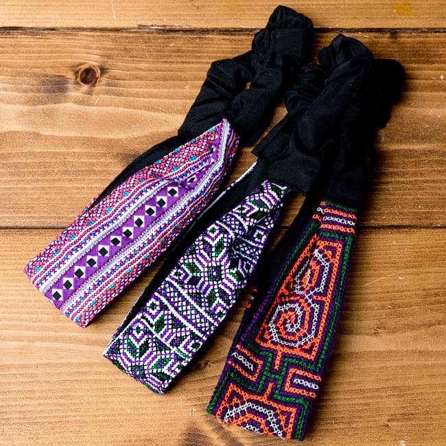 選べるお得3点セット モン族の手作りカラフル刺繍ヘアバンド【アソート】 13 - 選択No.5 パープル系