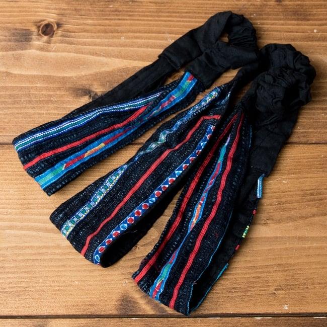 選べるお得3点セット モン族の手作りカラフル刺繍ヘアバンド【アソート】 15 - 選択No.7 ネイビー系