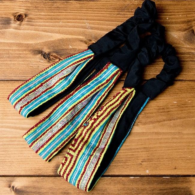 選べるお得3点セット モン族の手作りカラフル刺繍ヘアバンド【アソート】 17 - 選択No.9 水色・イエロー系