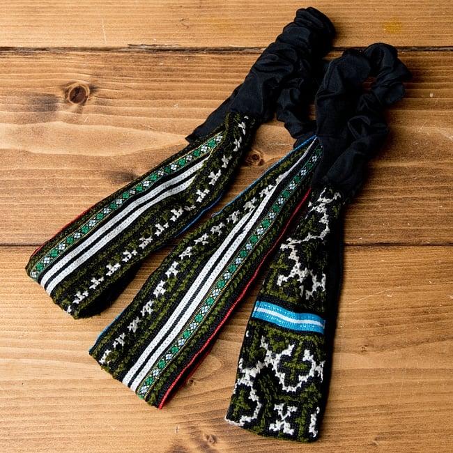 選べるお得3点セット モン族の手作りカラフル刺繍ヘアバンド【アソート】 18 - 選択No.10 グリーン・ブラック系