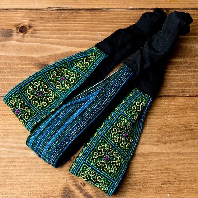 選べるお得3点セット モン族の手作りカラフル刺繍ヘアバンド【アソート】 19 - 選択No.11 水色・グリーン系