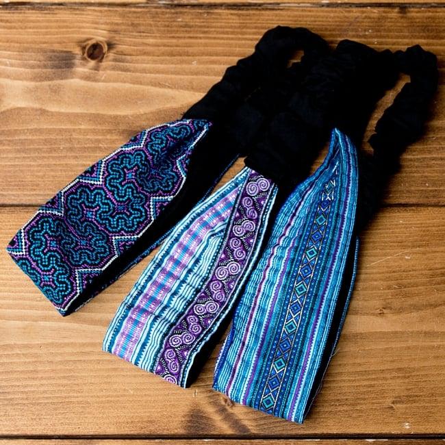 選べるお得3点セット モン族の手作りカラフル刺繍ヘアバンド【アソート】 20 - 選択No.12 水色・パープル系