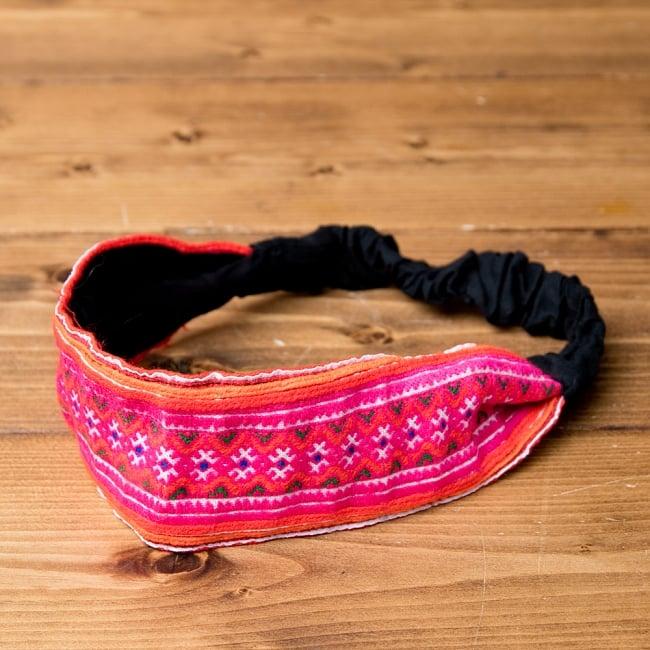 選べるお得3点セット モン族の手作りカラフル刺繍ヘアバンド【アソート】 5 - 前からの写真です