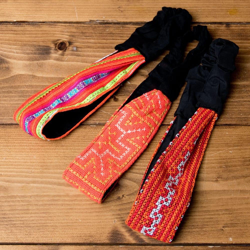 選べるお得3点セット モン族の手作りカラフル刺繍ヘアバンド【アソート】 9 - 選択No.1 オレンジ系