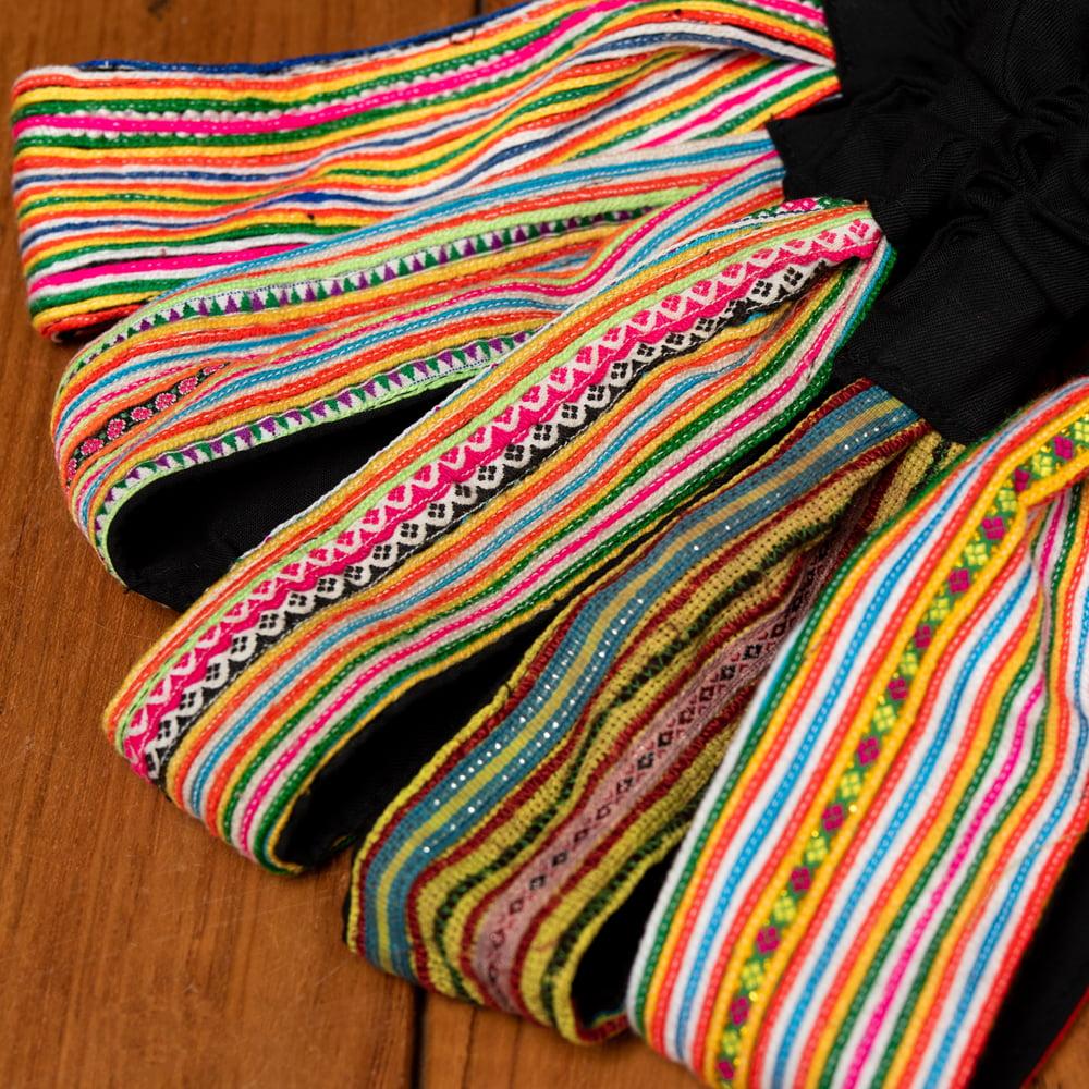モン族の手作りカラフル刺繍ヘアバンド【1点アソート】 10 - 選択No.2 ピンク系