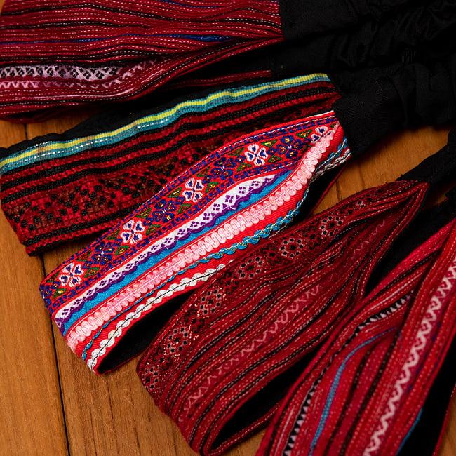 モン族の手作りカラフル刺繍ヘアバンド【1点アソート】 13 - 選択No.5 パープル系