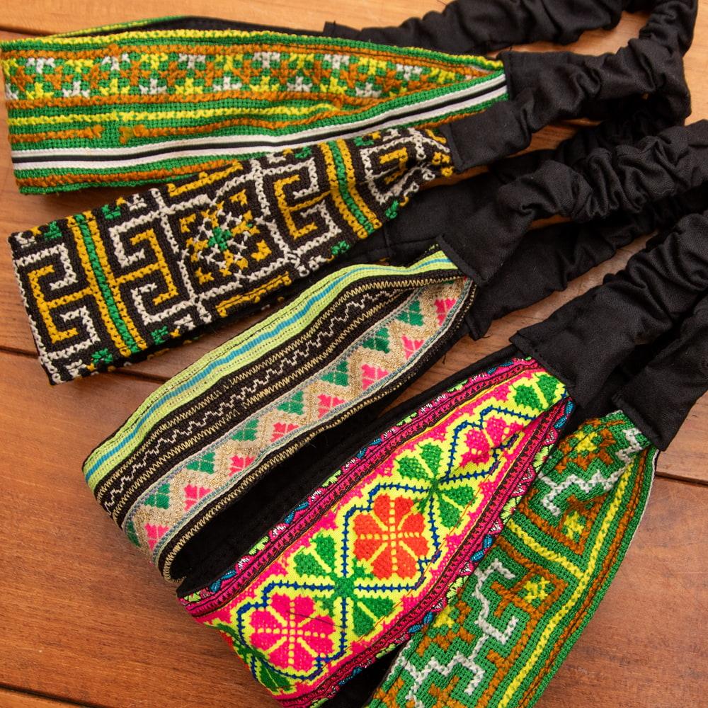 モン族の手作りカラフル刺繍ヘアバンド【1点アソート】 14 - 選択No.6 ダークパープル系