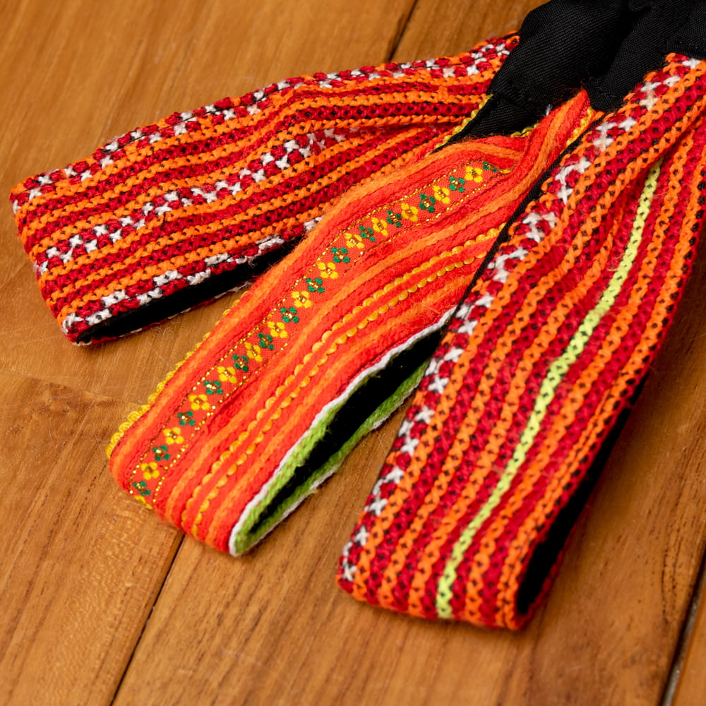 モン族の手作りカラフル刺繍ヘアバンド【1点アソート】 17 - 選択No.9 水色・イエロー系