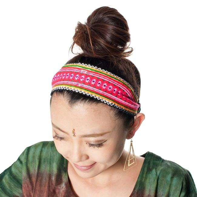 モン族の手作りカラフル刺繍ヘアバンド【1点アソート】 2 - ゴムが効いているのでフィットします。