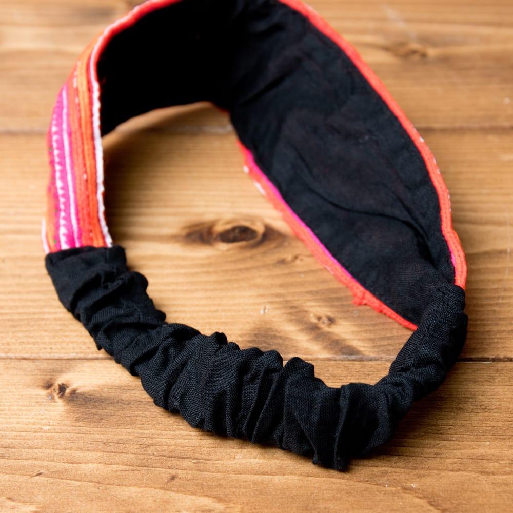 モン族の手作りカラフル刺繍ヘアバンド【1点アソート】 7 - ゴムの部分です