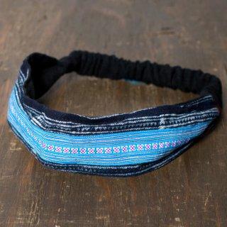 モン族の手作りカラフル刺繍ヘアバンド【水色系アソート】