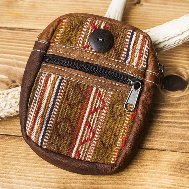 エスノ刺繍レザータバコケース - 茶色系の写真