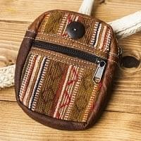 エスノ刺繍レザータバコケース - 茶色系
