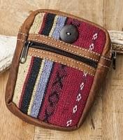 エスノ刺繍レザータバコケース - 赤・ベージュ系