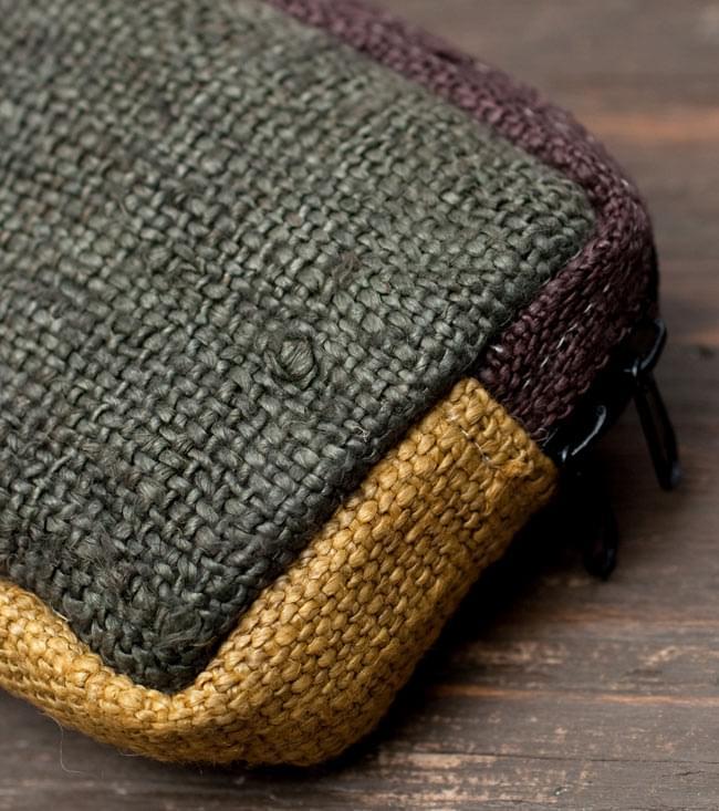 ヘンプとコットンのポーチ【緑×茶×黄色】 3 - 素材感がわかるようにアップにしてみました。