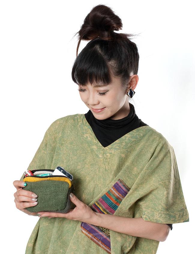 ヘンプとコットンのポーチ【緑×茶×黄色】 8 - ちょっとした小物を持ち歩くときに便利です!