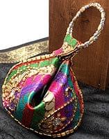 マハラーニ風の丸型おりたたみハンドバッグ - マルチカラー系